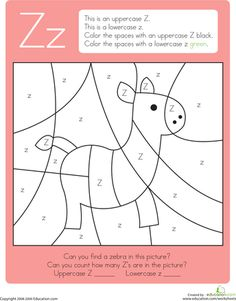 Worksheets: Color by Letter: Capital and Lowercase Z