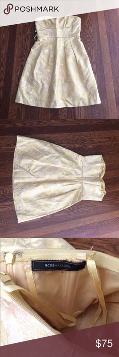 Selling this Yellow/gold bcbg cocktail dress on Poshmark! My username is: alyssapo. #shopmycloset #poshmark #fashion #shopping #style #forsale #BCBG #Dresses & Skirts