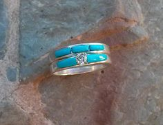 Turquoise inlay Diamond Engagement Ring and by SpanishTrailsINTL