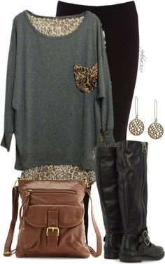 A fashion look from December 2012 featuring leopard long sleeve shirt, full length leggings and black zip up boots. Browse and shop related looks. Mode Chic, Mode Style, Style Me, Casual Outfits, Cute Outfits, Fashion Outfits, Womens Fashion, Casual Attire, Fall Winter Outfits