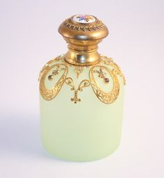 French 1860 Green Opaline and Gilded Napoleon III Palais Royal Scent Perfume Bottle with Sevres Style Porcelain Finial
