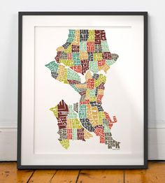 Seattle, Washington neighborhoods typography map art print in contemporary colors -Signed print from my original hand-drawn United States Typography