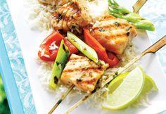 Brochettes de saumon à la lime et au gingembre