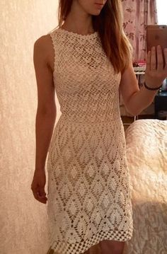 """Dresses Contact Olga Skiba Blouse-tunic """"Snowdrops"""" Assign another by blouse pattern """"Snowdrops"""", published in the journal """"D. T-shirt Au Crochet, Beau Crochet, Mode Crochet, Crochet Shirt, Crochet Woman, Crochet Books, Crochet Stitch, Knit Dress, Dress Skirt"""