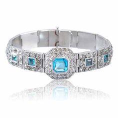 Silver Rhinestone Art Deco Bracelet Aquamarine Wedding Jewelry Art Deco Jewelry on Etsy, $165.00