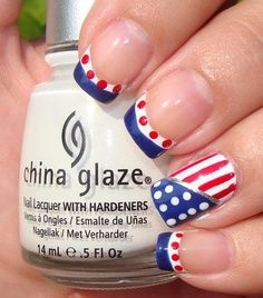 Fourth of July nail art -   see more designs on http://thegardeningcook.com/patriotic-nails-for-the-4th-of-july/