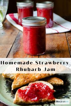 Strawberry Rhubarb Jam, Rhubarb Jelly, Strawberry Jelly, Rhubarb Pudding, Pudding Cake, Strawberry Fields, Rhubarb Freezer Jam, Canning Recipes, Rhubarb Jam Recipes Canning