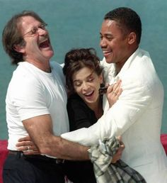 Robin Williams, Cuba Gooding Jr. share a laugh with Annbella Sciorra after a press conference in Cannes Thursday May 15, 1997 @ Remy De La Mauviniere