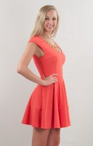 Probably one of my favorite coral dresses for the summer - going out, engagement parties, weddings! Basically the perfect coral cocktail dress and a wardrobe must have!