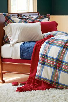 Perfect and cozy bed for a fall nap. Lands' End Stewart Plaid bedding.
