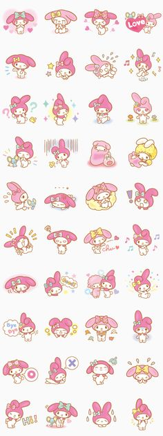 Sweet and adorable My Melody is back with a new set of stickers☆ She's really happy to be here among you lovely LINE users♪Let her add some cheer to your chats♪