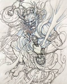 Raijin #sketch #illustration #drawing #irezumi #tattoo #asiantattoo #asianink #chronicink #irezumicollective #raijin #thundergod