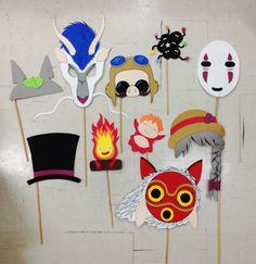DIY Studio Ghibli inspired photo booth props | Made without pattern, I just drew the shapes on the foam and hot-glued them. | Totoro / Haku / No-face / Spirited Away / Clacifer / Ponyo / Sophie / Princess Mononoke