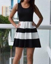 Judy Black and White Dress