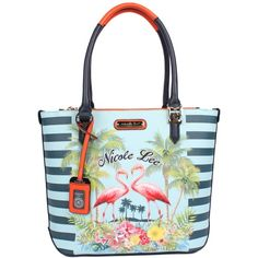 Nicole Lee TROPICAL FLAMINGO PRINT TOTE BAG (€51) ❤ liked on Polyvore featuring bags, handbags, tote bags, nicole lee purses, man tote bag, tote hand bags, handbag purse and purse tote bag