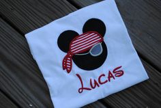 Mickey Mouse Inspired Pirate Applique Shirt With Name in Infant/Toddler/Youth Sizes on Etsy, $21.00