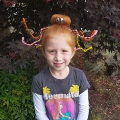 This morning I turned my daughter's hair into an octopus for crazy hair day. It was quite the hit at school this morning and only took me about 15 minutes. I wish I had taken step by step ph…