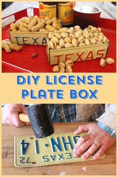 DIY License Plate Box. Looking for vintage license plates? Go to https://www.etsy.com/shop/AmericanAntique?ref=hdr_shop_menu&search_query=license+plate from as low as $5 each.