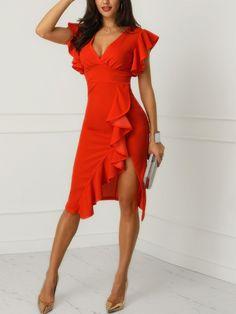 V-Neck Ruffles Design Slit Sheath Dress Elegant Dresses, Sexy Dresses, Cute Dresses, Beautiful Dresses, Dress Outfits, Evening Dresses, Casual Dresses, Fashion Dresses, Formal Dresses