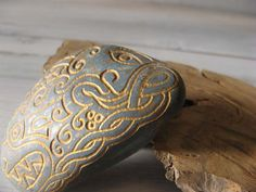 Celtic Druid and Dragon hand carved rock... how cool!