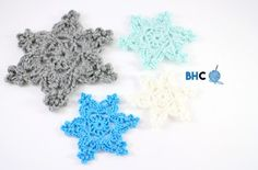 """""""Crochet snowflakes are perfect for many holiday projects. Crochet yourself a snowflake garland to string over the mantle; embellish your holiday hats with a snowflake; attach them to a place mat or table runner; use them as Christmas tree ornaments Free Crochet Snowflake Patterns, Christmas Crochet Patterns, Crochet Snowflakes, Snowflake Garland, Snowflake Craft, Crochet Christmas Gifts, Crochet Ornaments, Holiday Crochet, Christmas Ornaments"""