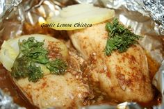 Garlic Lemon Chicken (Packets for the Grill or Oven Bake)