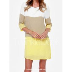 Casual Round Neck 3/4 Sleeve Color Block Loose-Fitting Women's Dress #fashion #style $11 #dress #shopping #women #ladies #apparel #clothing #accssories #twinkledeals #mystylespot
