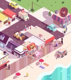 alyssakorea:  An isometric view of Beach City! I tried to make this for the second Steven Universe t-shirt contest, but was too short on time ORZ