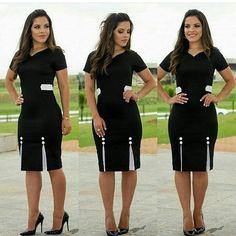 """2,003 curtidas, 51 comentários - Malibu Modas Feminina (@lojamalibu) no Instagram: """"Vestido Silvana Pretinho Básico que todas queremos em grande estilo   DO P AO EXTRA G  Por…"""" Work Fashion, Modest Fashion, Vestidos Chiffon, Simple Dresses, Dresses For Work, Dress Skirt, Bodycon Dress, Skirt Outfits, Casual Outfits"""