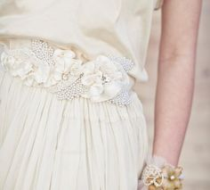 wedding dress sash with satin ribbon and vintage pearl leaves, Wedding Belts, Sashes, Ribbons, Ties - Bridal Accessories. $135.00, via Etsy.