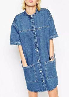 Chic Short Sleeves Stand-Up Collar Pocket Design Denim Dress For Women