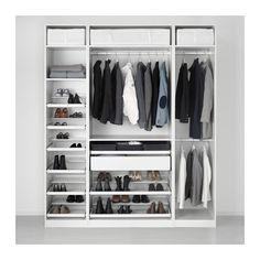 PAX Garderobekast, wit, Hemnes witgebeitst wit 200x60x236 cm standaardscharnier