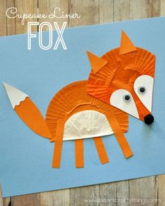 Cupcake Liner Fox Craft | Fun animal craft for kids | From I Heart Crafty Things