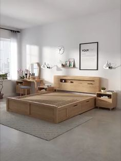 Usb modern bed with storage space underneath bed frame with storage Wooden Frame Storage Bed Bedroom Furniture Design, Furniture, Bed Design Modern, Bed Furniture Design, Bed Frame Design, Bedroom Furniture, Room Decor, Bedroom Bed Design, Furniture Design