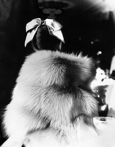 The Little Furs: Mary Jane Russell in a cape-jacket by Ritter Brothers at the Essex House, New York Photo by Lillian Bassman