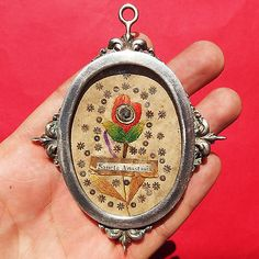 ST ANASTASIA RELIQUARY SILVER MEDAL 17TH CENTURY INMACULATE CONCEPTION PENDANT