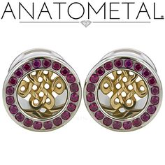 "1/2"" Gemmed Eyelets in ASTM F-138 stainless steel with Celtic Inserts in bronze: Red CZ gemstones"