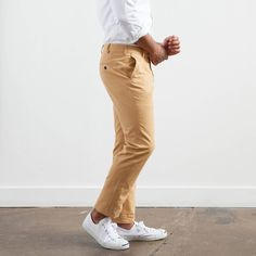 Elk Head Clothing's butterscotch sanded canvas trouser.