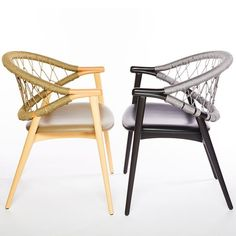 The Umami armchair with Trieste rope back features a backrest made from two curving bentwood beech pieces that combine with four legs to create a sleek and slender frame. The upholstered seat is comfortable, the rope back intriguing. The rope is woven by hand, adding an artisanal element into the mix and when paired with the light frame, makes for a truly striking rope chair. Contemporary Dining Chairs, Fabric Suppliers, Trieste, Wishbone Chair, Four Legged, Cribs, Armchair, Legs, Frame