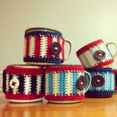 copyright of tjou-tjou, all rights reserved by henriette rademan one of my learners fell in love with our mug-cosies and ordered . Cosy, Knit Crochet, Mugs, Knitting, Pretty, How To Make, Stuff To Buy, Accessories, Vintage