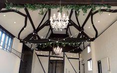 Chandeliers, silk greenery and festoon lights Event Lighting, Barn Lighting, Festoon Lights, Large Chandeliers, Fairy Lights, Professional Photographer, Vintage Looks, Rustic Wedding, Greenery