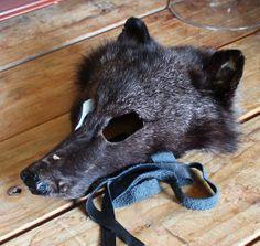 Real ecofriendly wild RARE black coyote fur mask  by thegreenwolf, $50.00
