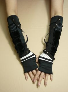 Visual Kei Armwarmers, Striped, Unisex Cyber Punk Fingerless Gloves, with Grommets, J rock , Punk, Neo Victorian