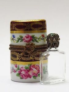 Vintage-Limoges-Trinket-Box-RM-Roses-Flower-Closure-Jewel-Topped-Perfume-Bottle