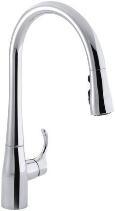"Kohler K-596 Simplice Single-Hole Kitchen Sink Faucet with 16-5/8"" Pull-Down Spo Polished Chrome Faucet Kitchen Single Handle"