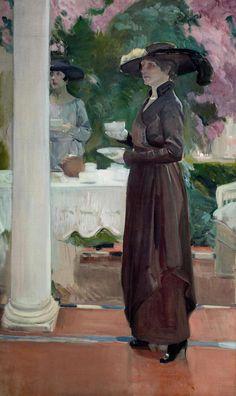 The Athenaeum - BASTIDA, Joaquin Sorolla y Spanish Realist-Impressionist (1863-1923)_Taking tea- 1918