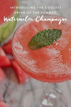 Introducing the Coolest Drink of the Summer: Watermelon Champagne via @PureWow