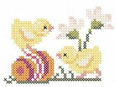 Two chicken cross stitch free embroidery design. Machine embroidery design. www.embroideres.com