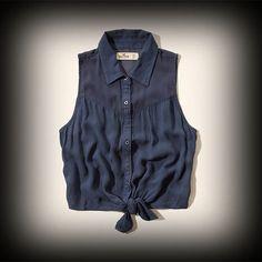 Hollister レディース シャツ  ホリスター La Jolla Cove Shirt ノースリーブシャツ★アバクロの姉妹ブランドとして知名度も高く芸能人も多数愛用している人気ブランドHollister!注目の今季新作アイテム。 ★シンプルでどんなアイテムとも合わせやすい便利なアイテム。