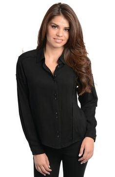 true to size 100% RAYON Made In CHINA It features a butterfly collar, center front button placket, long sleeves with a dropped shoulder, back asymmetric yoke finished off with a slight high low hemline. Our Asymmetric Seam Button Front Shirt is a great classic piece with a fun twist. It features a butterfly collar, center front button placket, long sleeves with a dropped shoulder, back asymmetric yoke finished off with a slight high low hemline. This top would look great with a vegan…